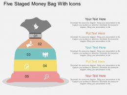 rp Five Staged Money Bag With Icons Flat Powerpoint Design