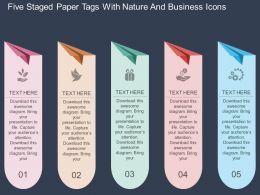 rq Five Staged Paper Tags With Nature And Business Icons Flat Powerpoint Design