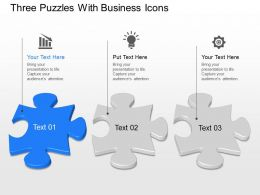 Rq Three Puzzles With Business Icons Powerpoint Template