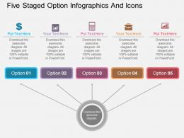 rr Five Staged Option Infographics And Icons Flat Powerpoint Design