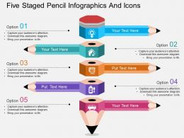 rr Five Staged Pencil Infographics And Icons Flat Powerpoint Design