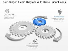 Rr Three Staged Gears Diagram With Globe Funnel Icons Powerpoint Template
