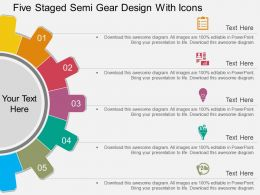 rs Five Staged Semi Gear Design With Icons Flat Powerpoint Design