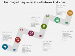 rs Five Staged Sequential Growth Arrow And Icons Flat Powerpoint Design