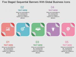 rt Five Staged Sequential Banners With Global Business Icons Flat Powerpoint Design