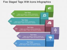 rt Five Staged Tags With Icons Infographics Flat Powerpoint Design