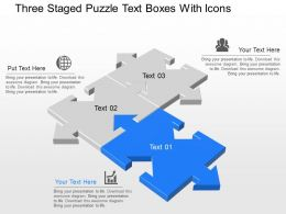 Rt Three Staged Puzzle Text Boxes With Icons Powerpoint Template
