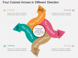 ru Four Colored Arrows In Different Direction Flat Powerpoint Design