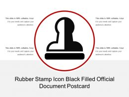 Rubber Stamp Icon Black Filled Official Document Postcard