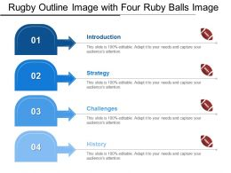Rugby Outline Image With Four Ruby Balls Image
