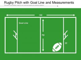 Rugby Pitch With Goal Line And Measurements