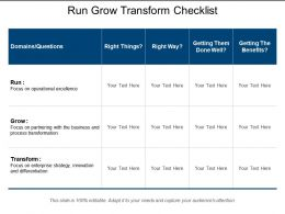 Run Grow Transform Checklist