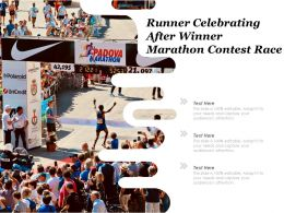 Runner Celebrating After Winner Marathon Contest Race