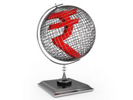 Rupee Sign On Globe Stock Photo
