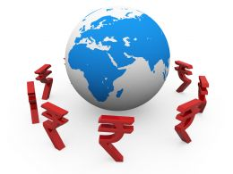 Rupee Symbols Around The Globe Showing Finance And Marketing Stock Photo