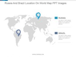 Russia And Brazil Location On World Map Ppt Images