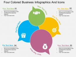 rv Four Colored Business Infographics And Icons Flat Powerpoint Design