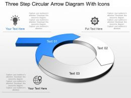 Rv Three Step Circular Arrow Diagram With Icons Powerpoint Template