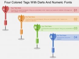 rw Four Colored Tags With Darts And Numeric Fonts Flat Powerpoint Design
