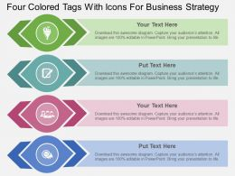 rx Four Colored Tags With Icons For Business Strategy Flat Powerpoint Design