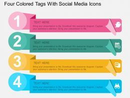 ry Four Colored Tags With Social Media Icons Flat Powerpoint Design