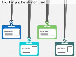 rz Four Hanging Identification Card Flat Powerpoint Design