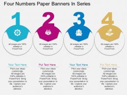 sa Four Numbers Paper Banners In Series Flat Powerpoint Design
