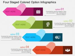 Sa Four Staged Colored Option Infographics Flat Powerpoint Design