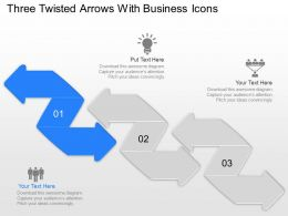 Sa Three Twisted Arrows With Business Icons Powerpoint Template