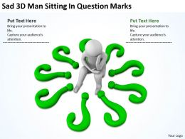 Sad 3D Man Sitting In Question Marks Ppt Graphics Icons Powerpoint