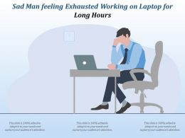 Sad Man Feeling Exhausted Working On Laptop For Long Hours