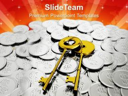 Safe Key With Coins Finance Powerpoint Templates Ppt Themes And Graphics