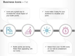 Safe Mobile Banking Gowth Bar Graph Global Process Flow Financial Growth Time Ppt Icons Graphics