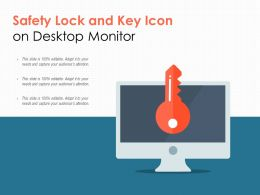 Safety Lock And Key Icon On Desktop Monitor