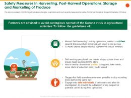 Safety Measures In Harvesting Post Harvest Operations Storage And Marketing Of Produce Load Ppt Pictures