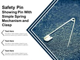 Safety Pin Showing Pin With Simple Spring Mechanism And Clasp