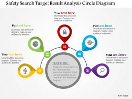 Safety Search Target Result Analysis Circle Diagram Flat Powerpoint Design