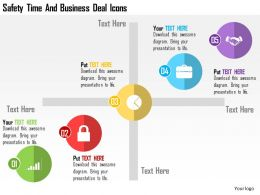 Safety Time And Business Deal Icons Flat Powerpoint Design