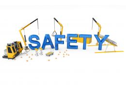 Safety Word With Three Cranes In Background Stock Photo