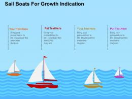 Sail Boats For Growth Indication Flat Powerpoint Design