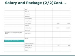 Salary And Package Cont Benefits Ppt Powerpoint Presentation Show Master Slide