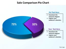 sale comparison pie chart data driven with piece coming out powerpoint diagram templates graphics 712