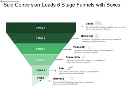 Sale Conversion Leads 6 Stage Funnels With Boxes