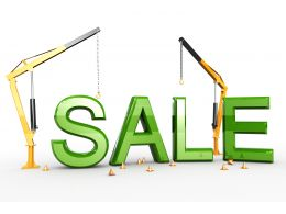 Sale Text With Two Cranes Stock Photo