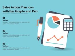 Sales Action Plan Icon With Bar Graphs And Pen