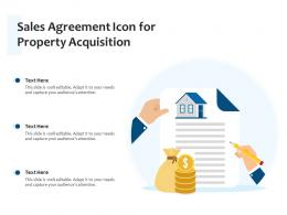 Sales Agreement Icon For Property Acquisition