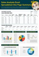 Sales Analysis Excel Spreadsheet One Page Summary Presentation Report PPT PDF Document