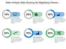 Sales Analysis Stats Showing Six Magnifying Glasses And Percentages