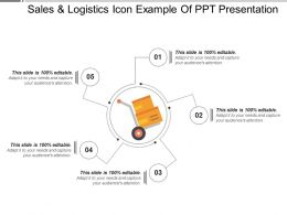 Sales And Logistics Icon Example Of Ppt Presentation