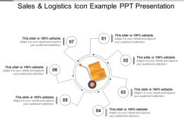 Sales And Logistics Icon Example Ppt Presentation